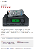 CYRUS 6a - What Hi-Fi Best stereo amp £600-£1000, Awards 2012